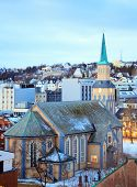 image of tromso  - Aerial view of Tromso Cathedral Church in Troms Norway at dusk twilight - JPG