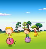 Illustration of the three kids playing with the bouncing balls