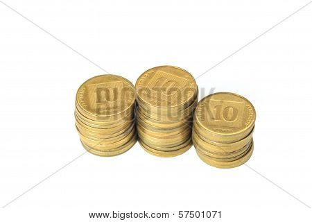 Three Stacks Of Coins Israeli