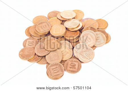 Heap Of Small Israeli Coins