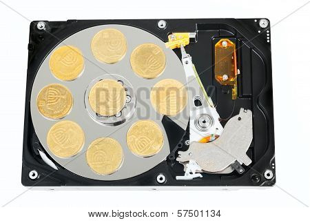 Opened Hard Without Cower Disk With Israeli Coins
