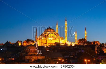 Fatih Mosque in Istanbul, with sunset