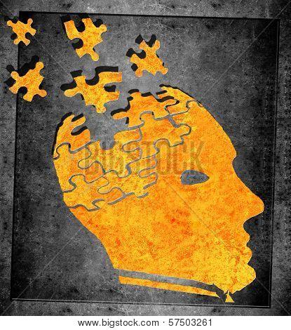 Loosing Memory Concept Orange On Black Illustration