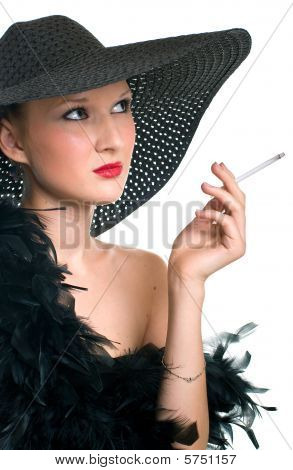 Women In Black With A Cigarette