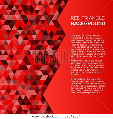 Red geometric background with triangles
