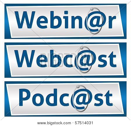 Webinar Webcast and Podcast Blue Blocks