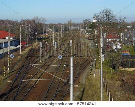 Railway junction taken from bridge above