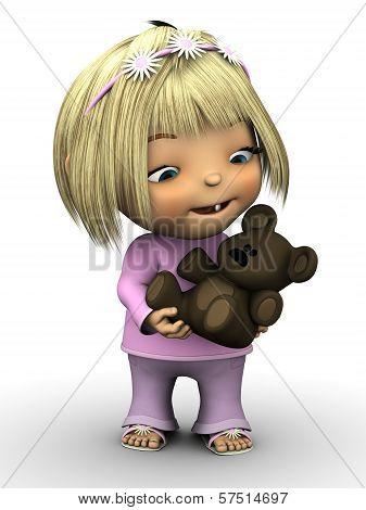 Cute Toddler Girl Holding Teddy Bear.