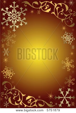 Vintage Christmas Background with golden und silbern Schneeflocken