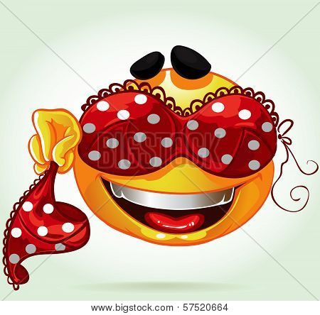 Funny Smile With And Red Lingerie With White Polka Dots. A Series Of Adult Party