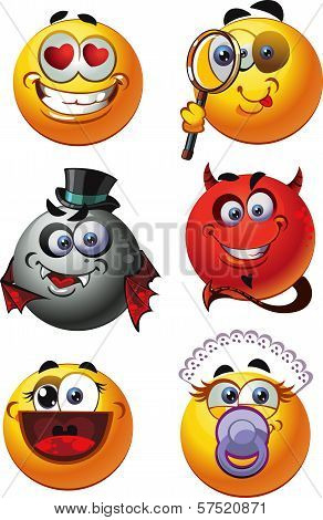 Set Of Round Smiles Emotions