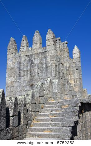 Top Defensive Wall Inside Guimaraes Castle In The North Of Portugal