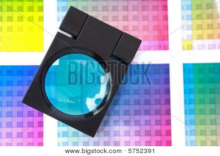 Magnifying Glass On Color Swatches Series - Blue