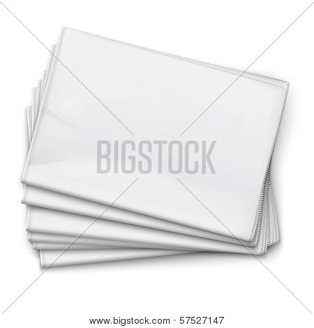 Blank newspapers pile on white background