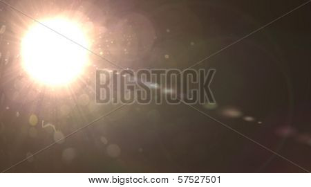 Star, sun with lens flare. Rays background