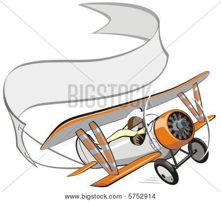 Vector cartoon biplane with banner