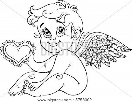 Cute Little Cupid With Valentine, Black Outline For Coloring