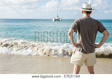Man Standing on a Caribbean Beach