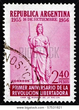 Postage Stamp Argentina 1956 Liberty, Allegory