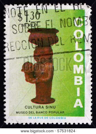 Postage Stamp Colombia 1973 Woman And Child, Ceramic