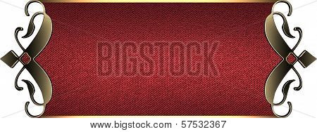 Template for writing. Red nameplate with gold ornate edges