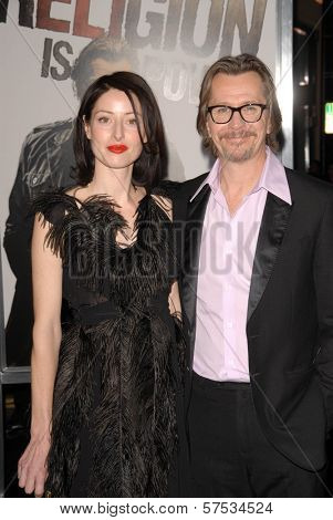 Gary Oldman and wife Alexandra Edenborough at 'The Book Of Eli' Premiere, Chinese Theater, Hollywood, CA. 01-11-10