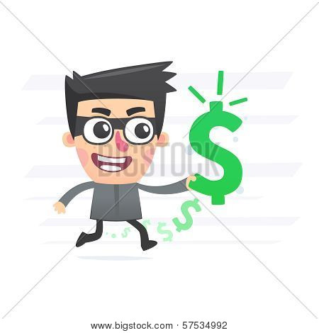 Robber with stolen money