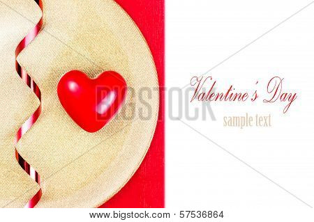 Red Heart On Golden Plate On Red Tablecloth Isolated On White Background. Valentines Day Background.