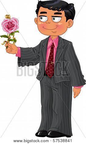Men In Suit Make A Present Pink Rose