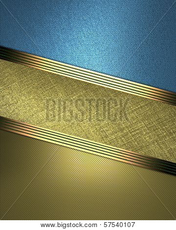 Gold and blue background with a nameplate in the middle