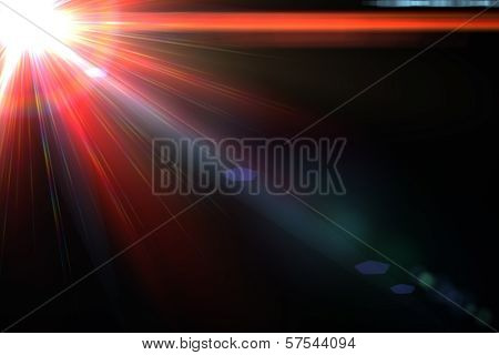 Star, sun with lens flare. Rays red of light on a  black background