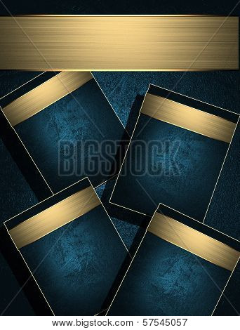 Blue background with gold name plate for text