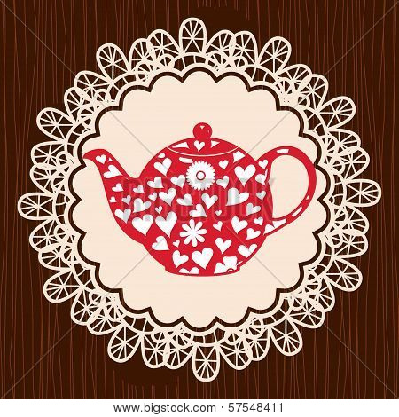 Retro Heart Teapot On Lace Napkin