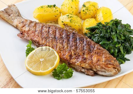 fried Trout with potato and spinach