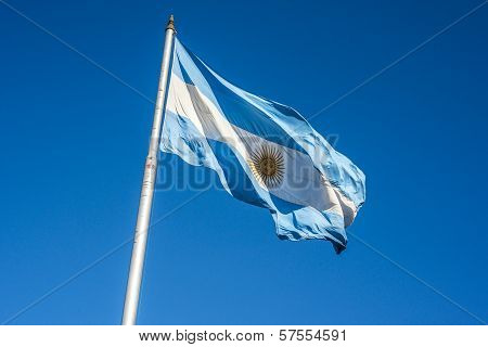 Argentinian Flag In Buenos Aires, Argentina.