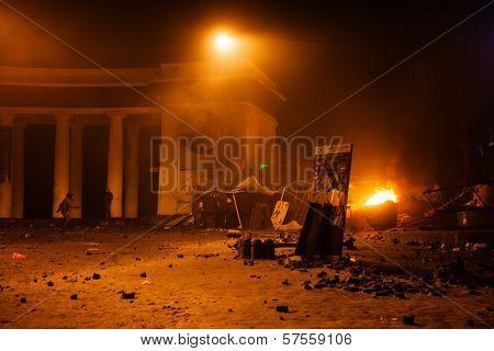 Kiev, Ukraine - January 20, 2014: Violent Confrontation And Anti-government Protests On The Hrushevs