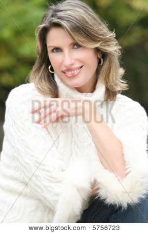 Winter Theme - Gorgeous Woman In White Sweater