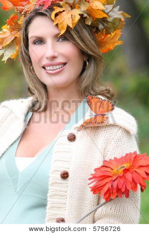 Red Flower - Gorgeous Woman With Red Flower, Fall Leaves And Butterfly