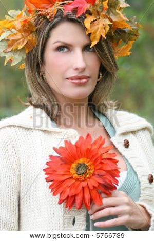 Gorgeous Woman With Red Flower, Fall Leaves, Butterfly