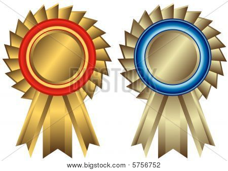 Set golden and silvery awards (vector)