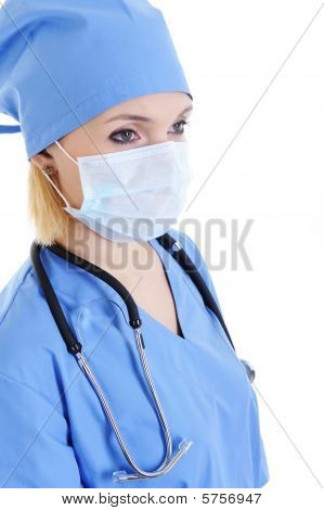 Woman Surgeon In Medical Mask On Face