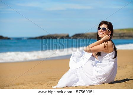 Romantic Woman On Summer Beach Vacation