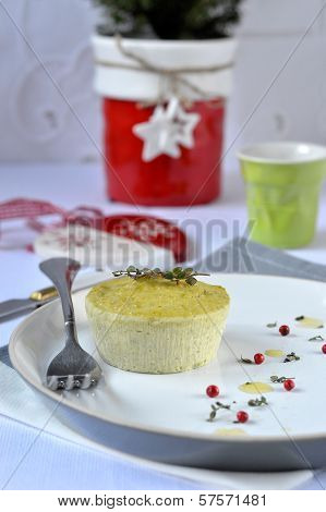 Flan with ricotta and green peas.