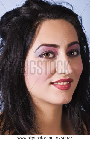 Beauty Woman With Pink-mauve Make Up