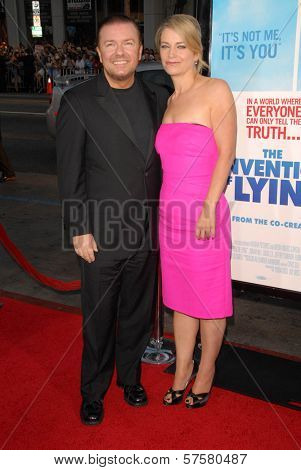 Ricky Gervais and Jane Fallon at the US Premiere of 'The Invention of Lying'. Grauman's Chinese Theatre, Hollywood, CA. 09-21-09