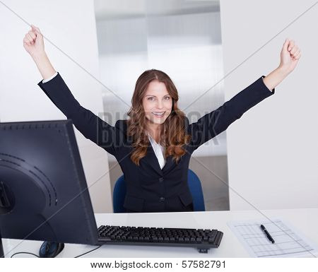 Jubilant Businesswoman In Office