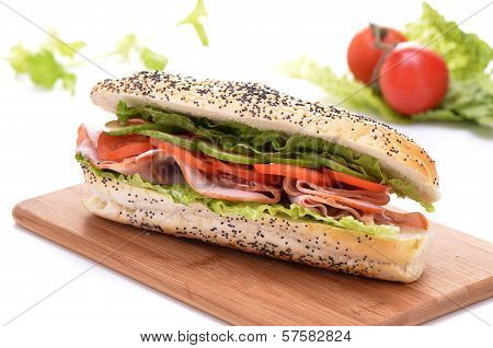 Ham And Vegetable Submarine Sandwich