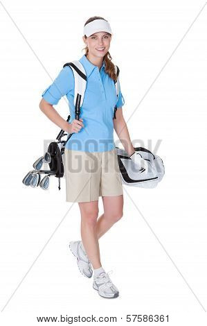 Golfer With A Bag Of Clubs