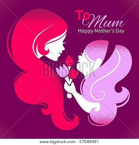 Card Of Happy Mother's Day. Beautiful Mother Silhouette With Her Daughter And Flowers