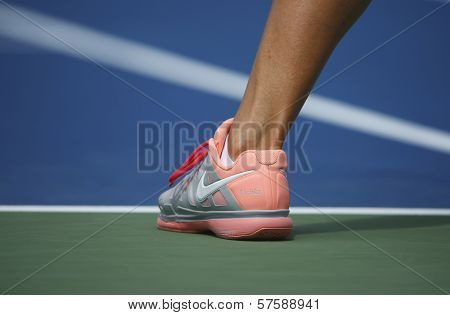 Two times Grand Slam champion Victoria Azarenka wears custom Nike tennis shoes during US Open 2013